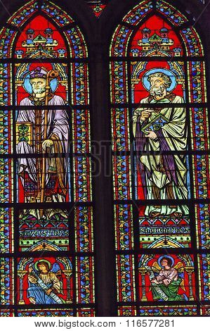 Saints Augustus Bishop Angels Stained Glass Notre Dame Cathedral Paris France