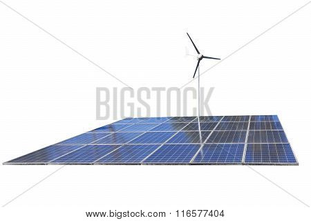 Solar Cell Panels And Wind Turbine, Produce Power, Green Energy Concept, Isolated On White Backgroun