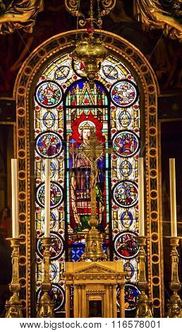 Altar Crucifix King Louis 9Th Stained Glass Basilica Saint Louis En L'ile Church Paris France