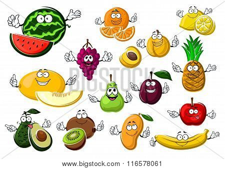 Appetizing ripe tropical and garden fruits
