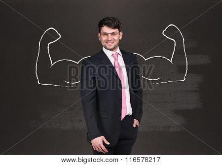 Businessman with drawn powerful hands