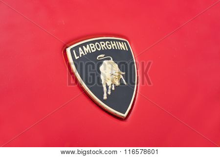 Close-up view of the logo on a Lamborghini