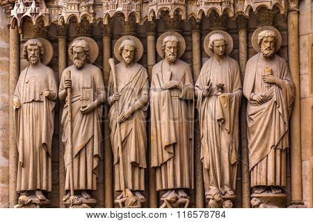 Biblical Saint Statues Door Notre Dame Cathedral Paris France