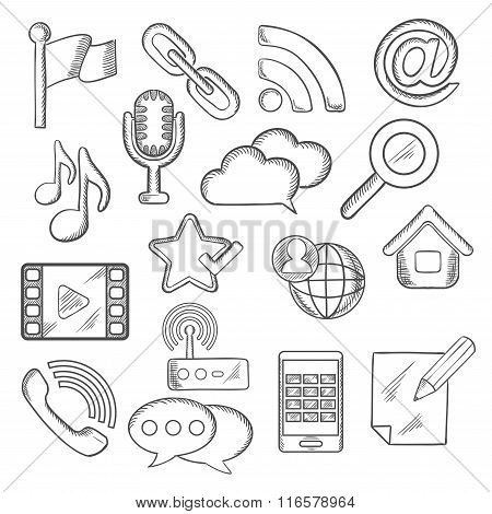 Multimedia and communication sketched icons