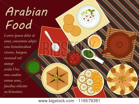Traditional arabian cuisine menu elements