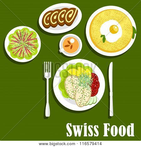 Swiss cuisine with rosti, fish and chocolate roll
