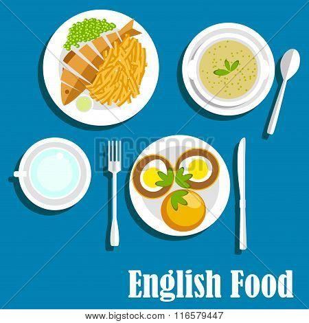 Traditional national english cuisine dishes