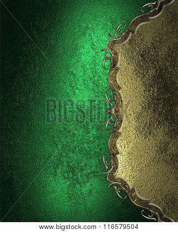 Green Texture And Gold Decoration Design. Element For Design. Template For Design. Copy Space For Ad