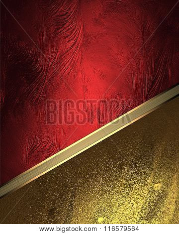 Red Texture With Gold Ornaments. Element For Design. Template For Design. Copy Space For Ad Brochure