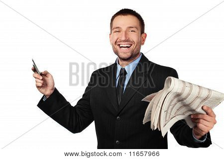 Businessman With Newspapper And Cellphone. Isolated