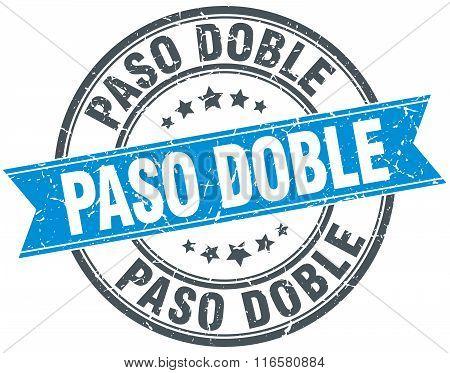 paso doble blue round grunge vintage ribbon stamp