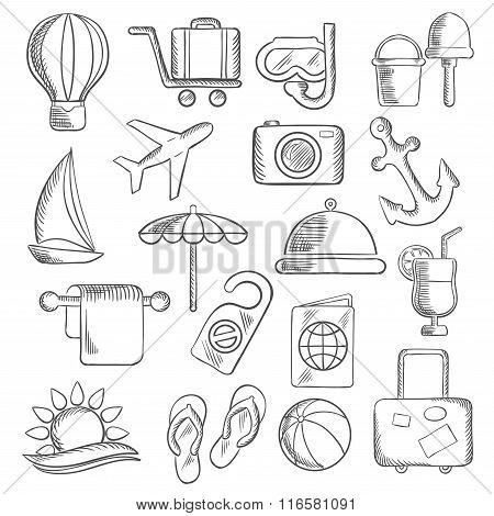 Travel, journey and leisure sketch icons