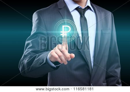 business, technology, internet and networking concept - businessman pressing ruble button on virtual