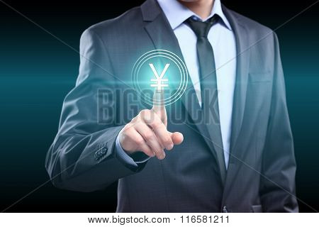 business, technology, internet and networking concept - businessman pressing yuan button on virtual