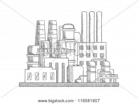 Industrial refinery factory vector sketch