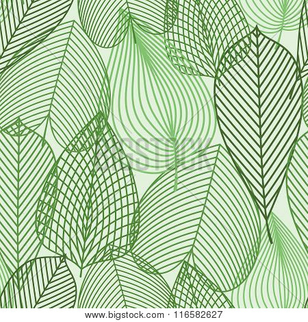 Spring green leaves seamless pattern