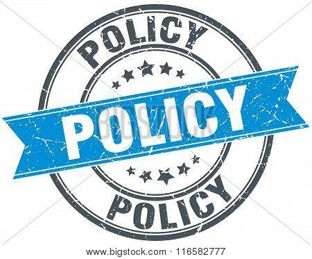 policy blue round grunge vintage ribbon stamp