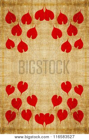 red heart on grunge brown texture background