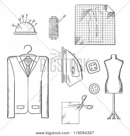 Tailor tools and accessories sketches set