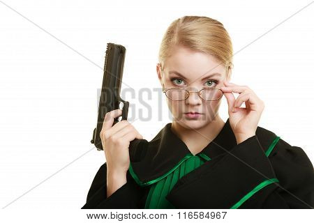 Woman Lawyer With Weapon Gun. Crime