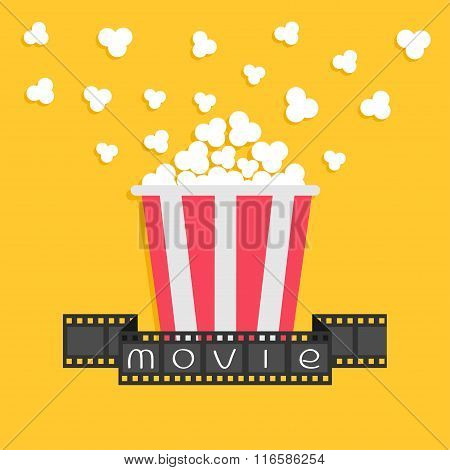 Popcorn. Film Strip Ribbon. Red Yellow Box. Cinema Movie Night Icon In Flat Design Style. Yellow Bac