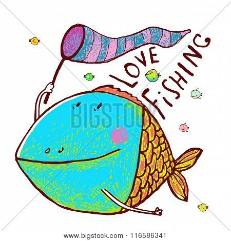 Lovely Cartoon Funny Fish Greeting Card Design Hand Drawn