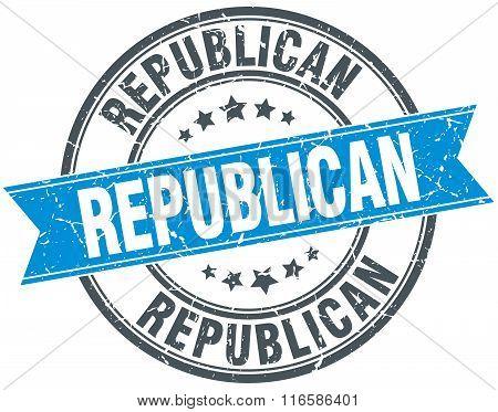 republican blue round grunge vintage ribbon stamp