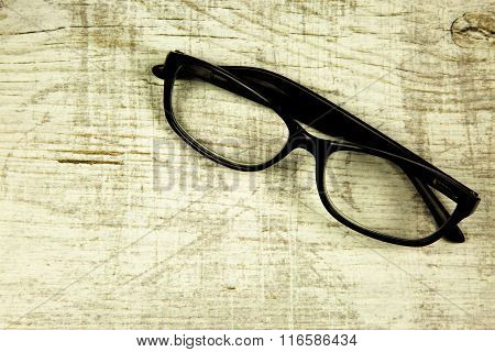 Glasses On An Old Wooden Countertop