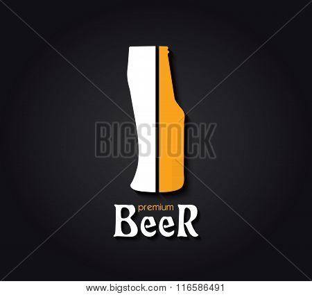 Creative Design  With Beer Bottle And Beer Glass. Vector Illustration