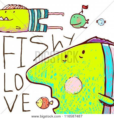 Lovely Cartoon Funny Fish Love Greeting Card Design Hand Drawn