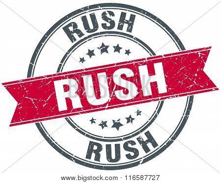 rush red round grunge vintage ribbon stamp
