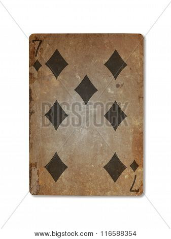 Very Old Playing Card, Seven Of Diamonds