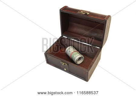 Vintage Opened Wood Box With Dollar Roll Isolated On White