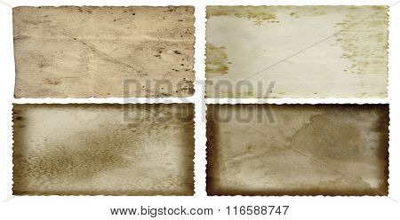 Conceptual old vintage dirty or grungy paper background set or collection isolated on white background