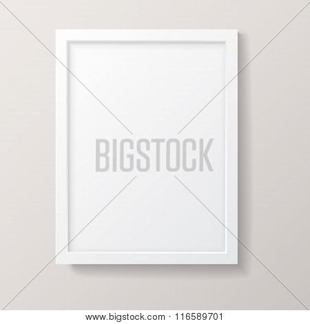 Realistic Empty White Picture Frame
