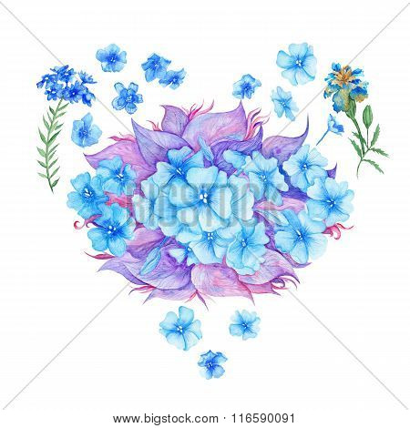 Watercolor Floral Heart