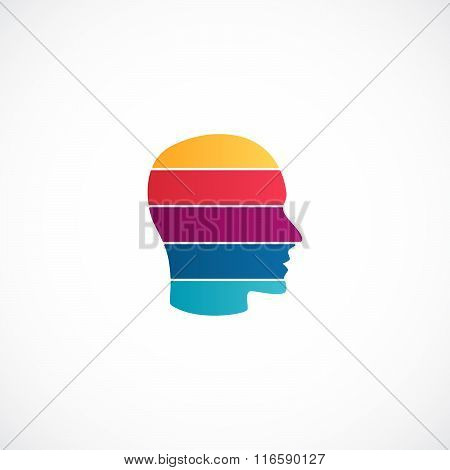 Human head logo template. Modern vector abstract face creative sign or idea symbol. Design striped g