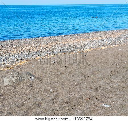 Summer  In The Coastline  And Light Ocean White Sky