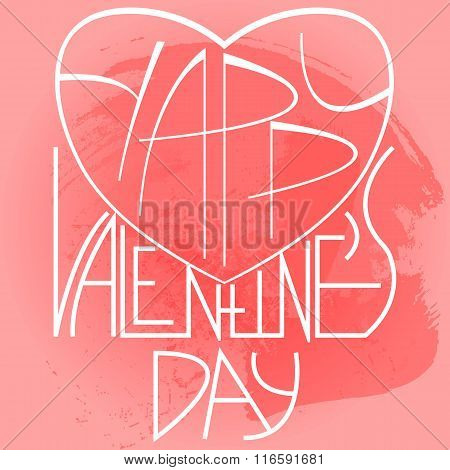 Hand sketched Valentine's Day logotype, badge and icon. Happy Valentine's Day postcard, card, invita