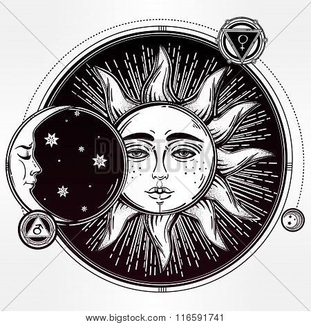 Vintage hand drawn sun eclipse with planets .