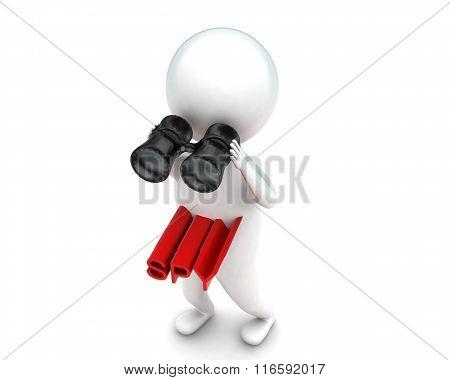 3D Man Holding Binocular - Spying Concept