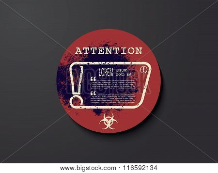 Exclamation Mark On Sticker With Biohazard Warning Sign. Attention Sign Icon. Hazard Warning Symbol