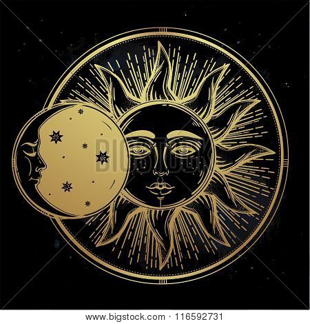 Vintage hand drawn sun eclipse .