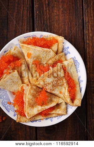 Pancakes with caviar, top view