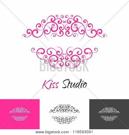 Beauty Salon Kiss Lips Logo Concept.