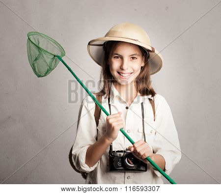 little explorer holding a butterfly net