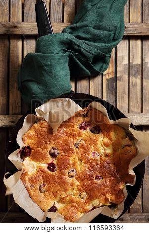 Homemade apple dessert, top view