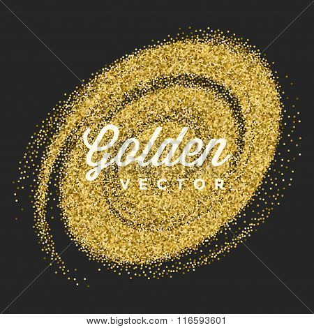 Gold Glitter Sparkles Bright Confetti Black Vector Background