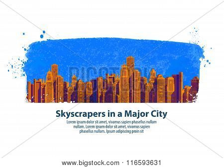 modern city. skyscrapers. vector illustration