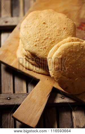 biscuit cakes on a wooden board